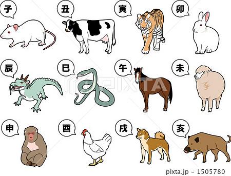 干支 十二支 動物 陸の哺乳類のイラスト素材 Pixta