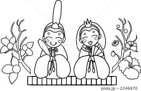モノクロひな祭り 雛祭のイラスト素材 Pixta