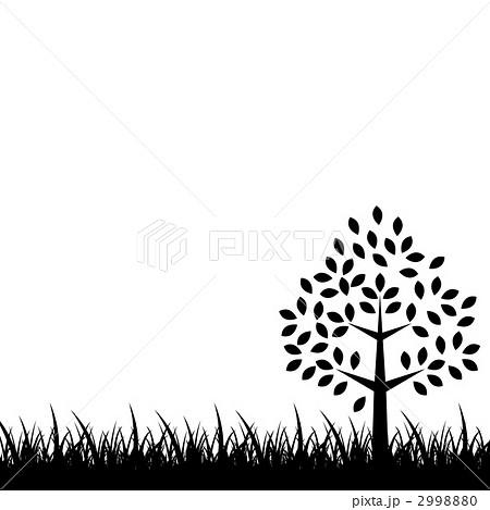 木 モノクロ 草 Cg イメージ 白黒のイラスト素材 Pixta