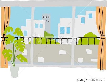 窓 イラスト 昼 窓際 窓辺の写真素材 Pixta