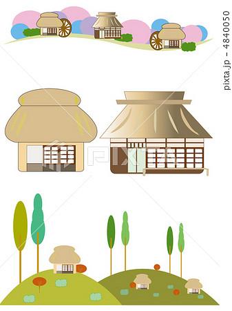 藁葺家のイラスト素材 Pixta