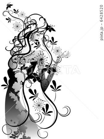 女性 花 白黒 モノトーンのイラスト素材 Pixta