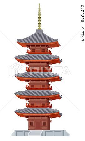 寺院仏閣 ベクター 寺院 五重塔のイラスト素材 Pixta