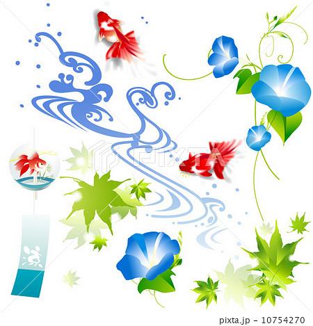 金魚 お中元 暑中見舞い 風鈴のイラスト素材