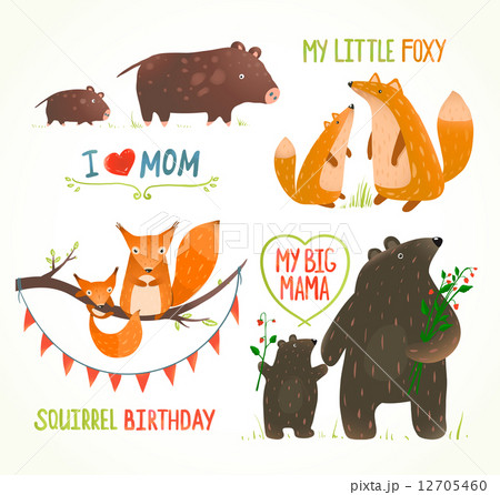 Cartoon Forest Animals Parent with Baby Birthday Party Cards