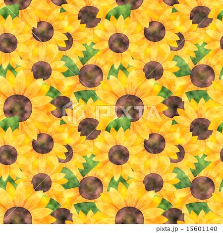 水彩風向日葵(ひまわり)総柄繰り返しイラスト背景(壁紙・パターン素材