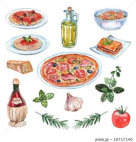 組み合わせ 料理 セット イタリアンのイラスト素材 Pixta