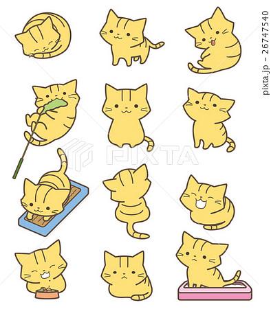 動物 猫 歩く 後ろ姿のイラスト素材 Pixta