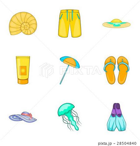 pixta sandy beach icons set cartoon style voltagebd Choice Image