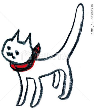 線画の猫赤いスカーフ