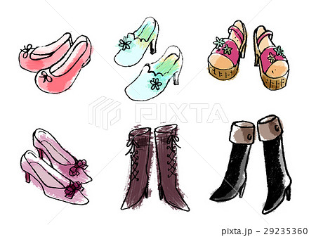 ブーツ 靴 革靴 履物のイラスト素材 , PIXTA
