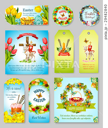 Easter pixta easter gift tag greeting banner and poster set negle