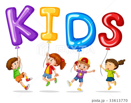 pixta kids with colorful balloons for word kids voltagebd Gallery