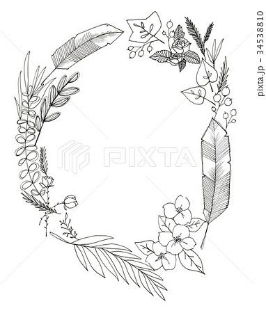 ナチュラルリースのイラスト素材 34538810 Pixta