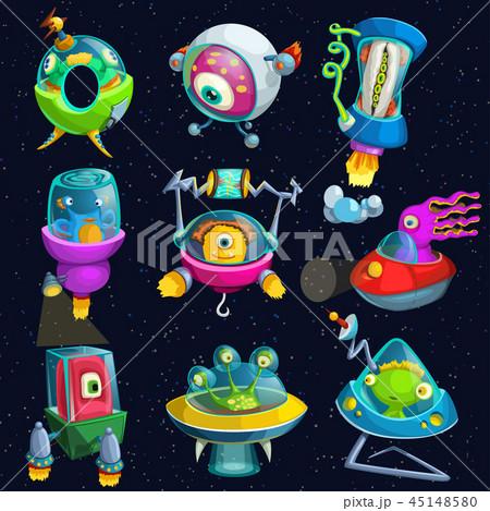 宇宙 惑星 宇宙船 かわいいのイラスト素材 Pixta